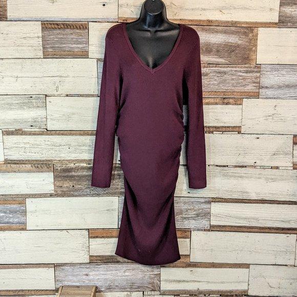 Derek Heart Dresses & Skirts - Burgundy Long Sleeved Maternity Dress sz XL